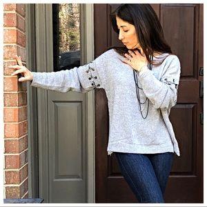 Sweaters - Paris chic chain trim sweater